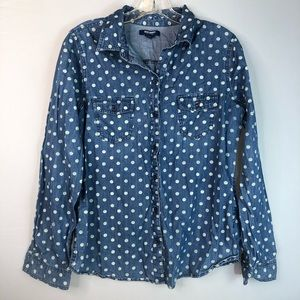 Old Navy Blue & White Polka Dot Button Down Shirt